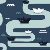 Pappers- fartyg, sömlös modell vektor illustrationer