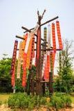 Pappers- flagga i tempel av Thailand Royaltyfri Foto