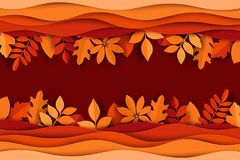 Pappers- höstsidor och färgrik bakgrund för vågor Moderiktig välling 3d stock illustrationer