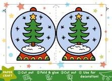 Pappers- hantverk för barn, kastar snöboll och julgranen royaltyfri illustrationer