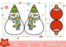 Pappers- hantverk för barn, snögubbe och jul klumpa ihop sig royaltyfri illustrationer