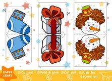 Pappers- hantverk för utbildning för barn, jul gåva och snögubbe stock illustrationer