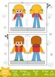 Pappers- hantverk för utbildning för barn, pojke och flicka stock illustrationer