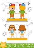 Pappers- hantverk för utbildning, sportig skolpojke och skolflicka stock illustrationer
