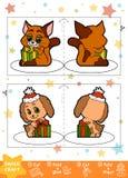 Pappers- hantverk för utbildningsjul för barn, hund och katt stock illustrationer