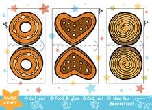 Pappers- hantverk för utbildningsjul för barn, julkakor vektor illustrationer