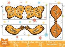 Pappers- hantverk för utbildningsjul för barn, julkakor stock illustrationer