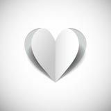 Pappers- hjärta på vit background.jpg Arkivbild