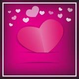 Pappers- hjärtakort för rosa färger. Royaltyfri Foto