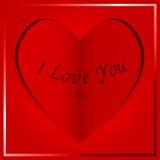 Pappers- hjärtakort - jag älskar dig Arkivbild