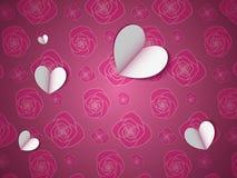 Pappers- hjärtor på blommamodellen stock illustrationer