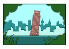 Pappers- illustration för appliquestilvektor Kort med applikation av den Piza ponoramaen med det lutande tornet av Pisa, Italien vektor illustrationer