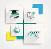 Pappers- infographics och plana symboler med lång skugga Arkivfoto