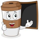 Pappers- kaffekopp med menysvart tavla Royaltyfria Bilder