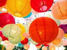 Pappers- kinesiska lyktor på det kinesiska nya året Arkivfoto