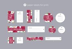 Pappers- klädetiketter för vektor för tryck med den modelläpplet och blomman Arkivbilder