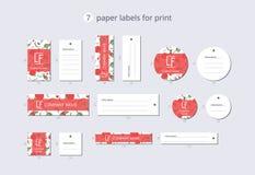 Pappers- klädetiketter för vektor för tryck med den röda vallmo för modell Fotografering för Bildbyråer