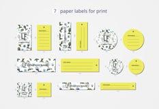 Pappers- klädetiketter för vektor för tryck med den skraj fisken för modell Royaltyfri Foto