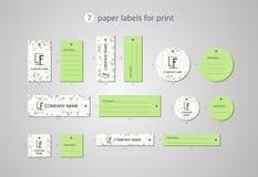 Pappers- klädetiketter för vektor för tryck med fänkålmodellen Arkivfoto