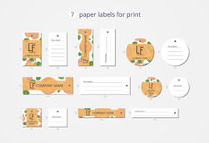 Pappers- klädetiketter för vektor för tryck med modellaprikons med blommor Royaltyfria Bilder