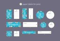 Pappers- klädetiketter för vektor för tryck med modellen som blomstrar körsbäret Royaltyfri Bild