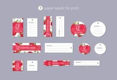 Pappers- klädetiketter för vektor för tryck med modellhallon Royaltyfria Foton