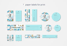 Pappers- klädetiketter för vektor för tryck med modellhavsbotten Arkivfoton
