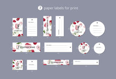 Pappers- klädetiketter för vektor för tryck med modellkörsbäret Royaltyfri Foto