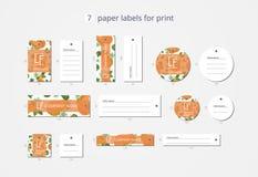 Pappers- klädetiketter för vektor för tryck med modellpäron och blommor Royaltyfria Foton