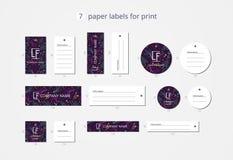 Pappers- klädetiketter för vektor för tryck med violett vatten för modell Royaltyfria Foton