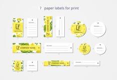 Pappers- klädetiketter för vektor för tryck med den modellvattenmelon och blomman Royaltyfri Bild