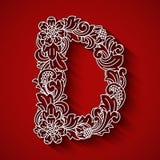 Pappers- klipp, vit bokstav D Röd bakgrund Blom- prydnad, traditionell stil för balinese Arkivfoto
