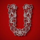 Pappers- klipp, vit bokstav U Röd bakgrund Blom- prydnad, traditionell stil för balinese Arkivbilder