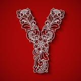 Pappers- klipp, vit bokstav Y Röd bakgrund Blom- prydnad, traditionell stil för balinese Royaltyfri Fotografi