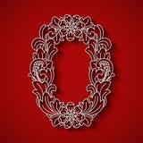 Pappers- klipp, vit bokstavsnolla Röd bakgrund Blom- prydnad, traditionell stil för balinese royaltyfri illustrationer
