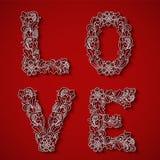 Pappers- klipp, vitt ord FÖRÄLSKELSE Valentin fyrkantigt kort Royaltyfri Bild