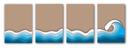 Pappers- klippt sommarstrand med havs- eller havvågor och sandreklambladuppsättningen royaltyfri illustrationer