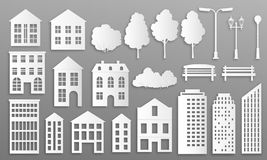 Pappers- klippta byggnader Husherrgårdkonturer, den vita origamistadsstugan, radhus med parkerar beståndsdelar vektor vektor illustrationer