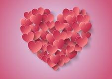 Pappers- klistermärke för hjärta med skuggavalentin dag Royaltyfria Bilder
