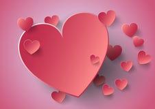 Pappers- klistermärke för hjärta med skuggavalentin illustrat för vektor för dag Fotografering för Bildbyråer