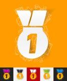Pappers- klistermärke för medalj med hand drog beståndsdelar Fotografering för Bildbyråer