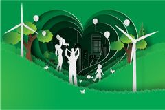 Pappers- konst av den lyckliga familjen som har gyckel som spelar i det trädgårds- fältet royaltyfri illustrationer