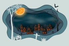 Pappers- konst av lyckliga halloween, slagträn som flyger i himlen ovanför mörkerby royaltyfri illustrationer
