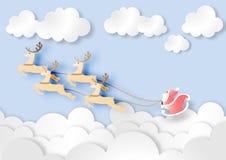 Pappers- konst av Santa Claus med renen på bakgrund för blå himmel, jul, festival, pastell, vektor vektor illustrationer