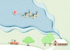 Pappers- konst av Santa Claus med renen på siktsbakgrund för blå himmel och landskap, jul, festival, pastell, vector001 stock illustrationer