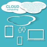 Pappers- konst, beräknande begrepp för moln på olikt elektroniskt devic vektor illustrationer
