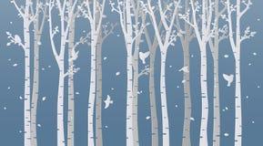 Pappers- konstbjörkträd på blå bakgrund royaltyfri illustrationer