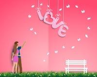 Pappers- konstdesign med par som står i trädgården av förälskelse, för lyckliga valentin dag, hälsningkort eller affisch royaltyfri illustrationer