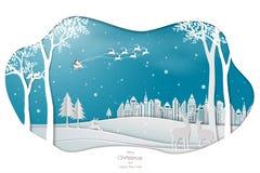 Pappers- konstdesign med Santa Claus som kommer till staden på blå bakgrund vektor illustrationer