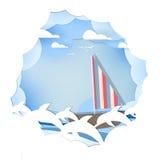 Pappers- konstlopp med fartyget med bakgrund för vektor för delfinvälkomnandebegrepp Arkivfoto